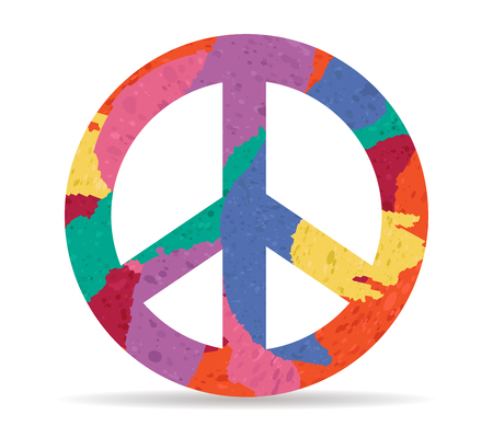peace drawn painted icon vector Illustration