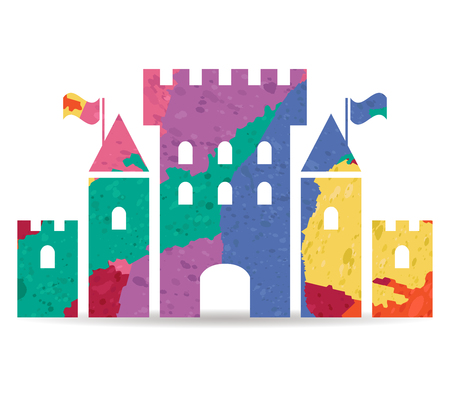 chateau: fantasy castle drawn painted icon vector