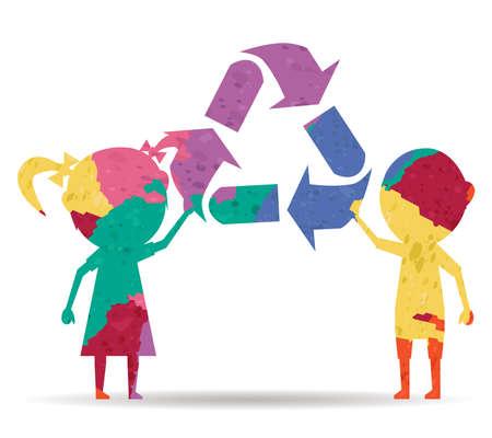 niños reciclando: niños y reciclaje dibujan pintado del vector del icono