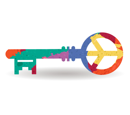 key lock: key to peace drawn painted icon vector Illustration