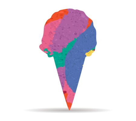 cornet: ice cream cornet drawn painted icon vector Illustration