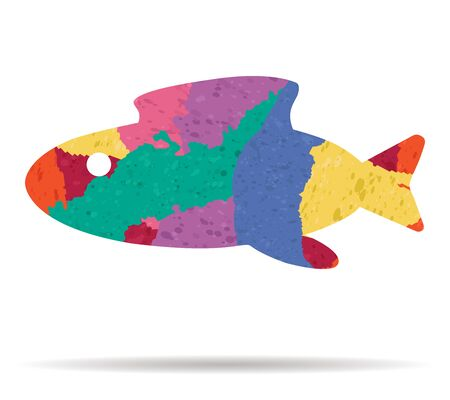 abstract fish: abstract fish drawn painted icon vector