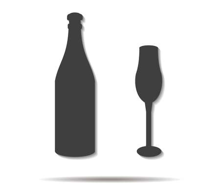 bottle and cup double shadow icon vector