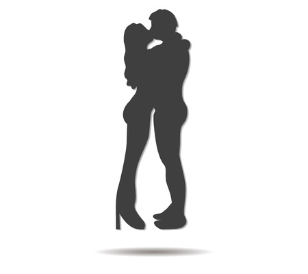 sweethearts: kissing couple double shadow icon vector Illustration