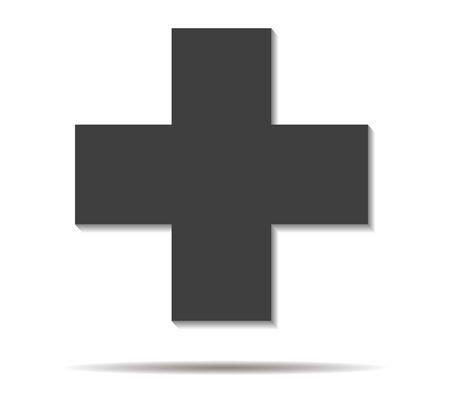 double cross: cross double shadow icon vector