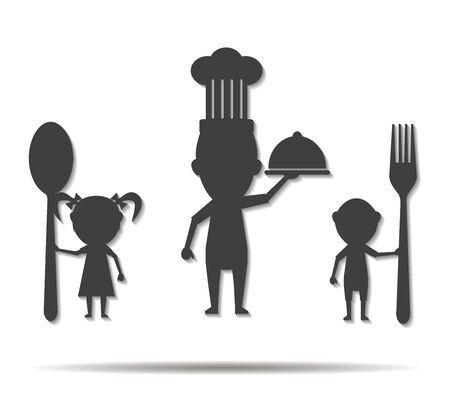 parentage: family eating double shadow icon vector