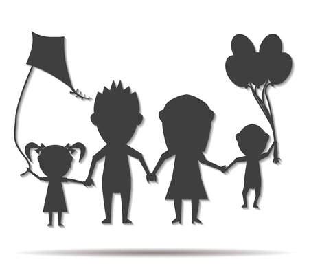 family playing: family playing dolls double shadow icon vector