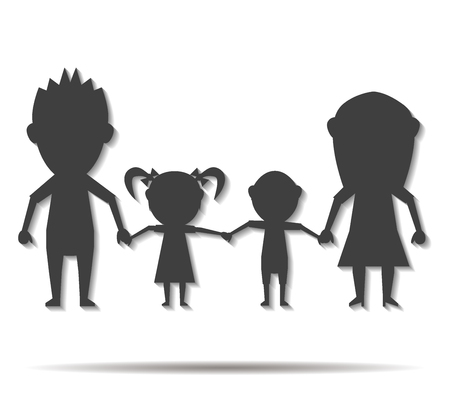 parentage: dolls family double shadow icon vector