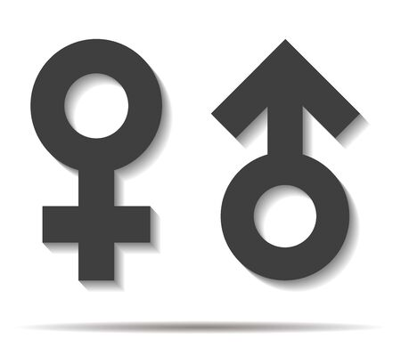 boyfriends: male and female double shadow icon vector