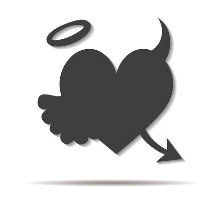 parentage: dark heart double shadow icon vector