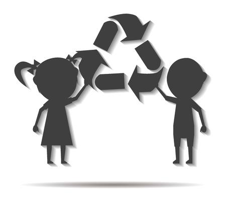 niños reciclando: niños y reciclaje sombra doble del icono del vector