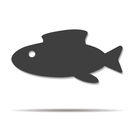 abstract fish: abstract fish double shadow icon vector