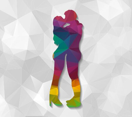sweethearts: kissing couple low poly Illustration