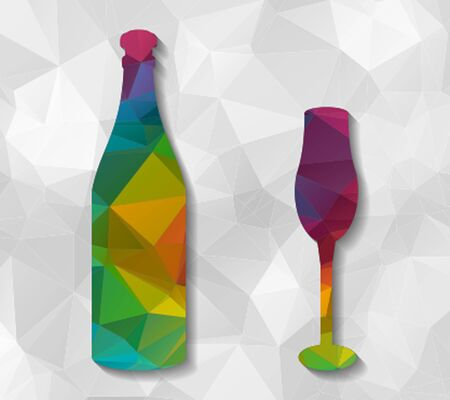 bottle and cup low poly Vectores
