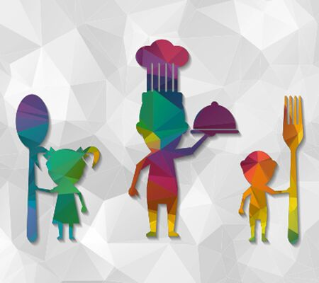 family eating: family eating low poly