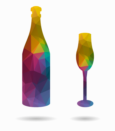 bottle and cup poly icon