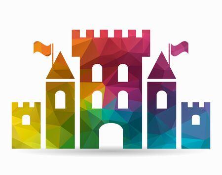 fantasy: fantasy castle poly icon