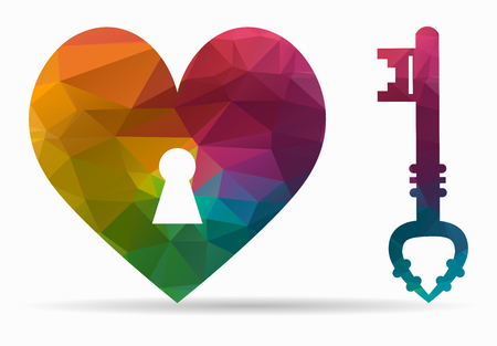 heartbreak: key heart poly icon