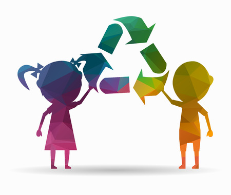 ni�os reciclando: poli icono de los ni�os y el reciclaje Vectores
