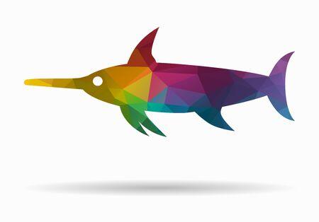 pez espada: icono de poli pez espada