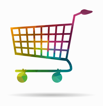shopping cart icon: shopping cart poly icon Illustration