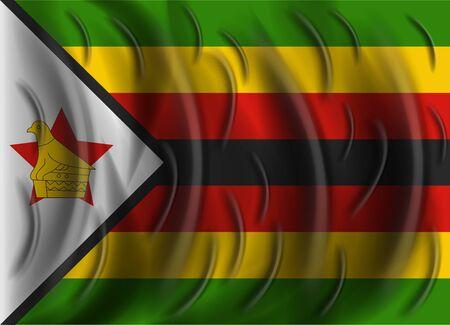 zimbabue: viento Bandera Zimbabwe Vectores