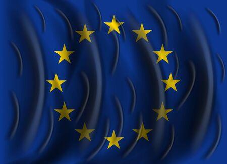 european union: european union wind flag Illustration