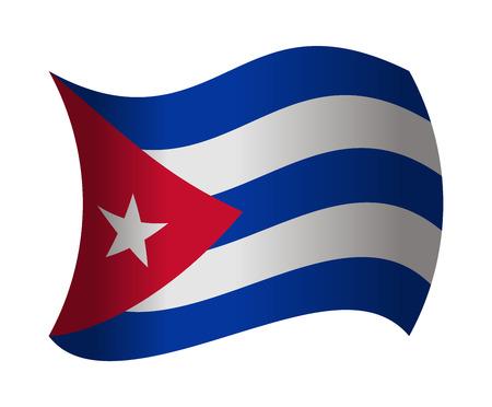 bandera de cuba: Cuba bandera ondeando en el viento