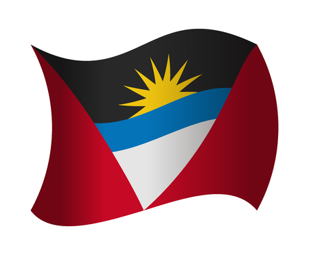 antigua: antigua and barbuda flag waving in the wind