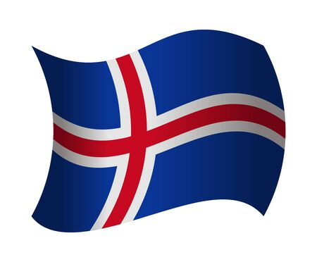 iceland flag: iceland flag waving in the wind