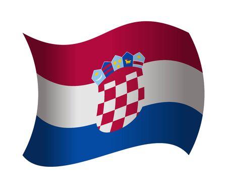 bandera croacia: Croacia Bandera ondeando en el viento Vectores