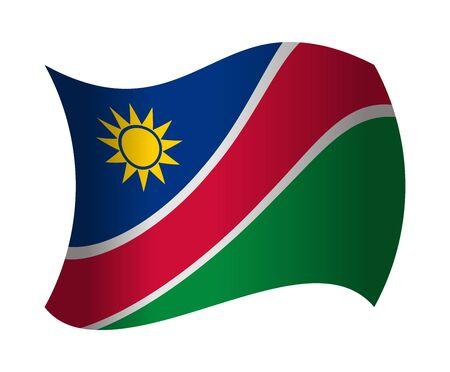 de vlag van Namibië wappert in de wind