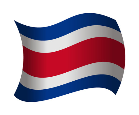 costa rica flag: costa rica flag waving in the wind Illustration
