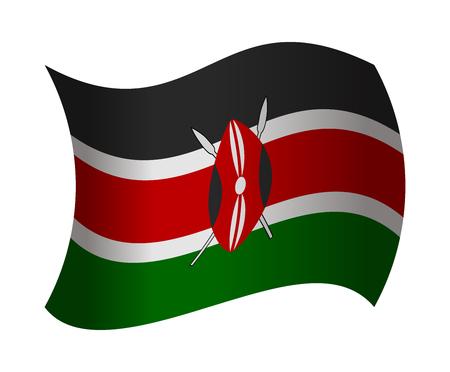 kenya: kenya flag waving in the wind
