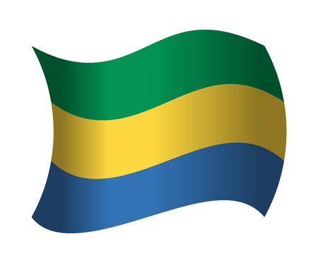 gabon flag waving in the wind