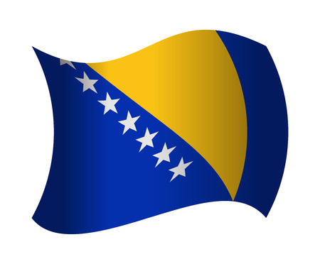 bosnia: bosnia and herzegovina flag waving in the wind