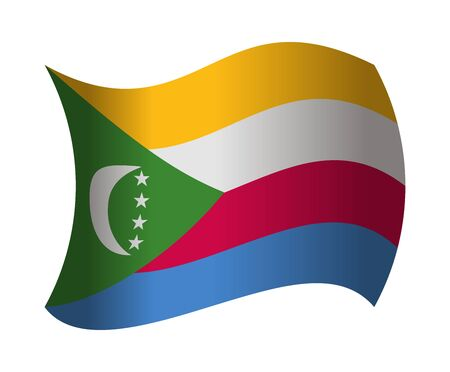 comoros flag waving in the wind Illustration