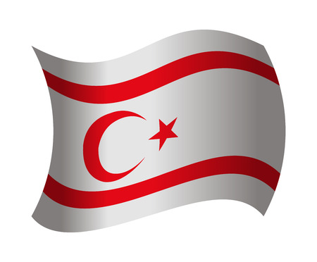 northern cyprus flag waving in the wind