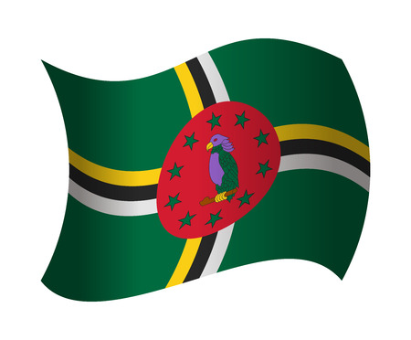 dominica flag waving in the wind Illustration