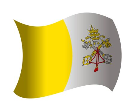 vatican city flag waving in the wind Illustration