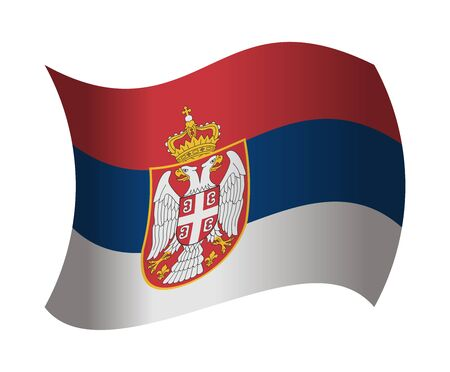 serbia flag: serbia flag waving in the wind