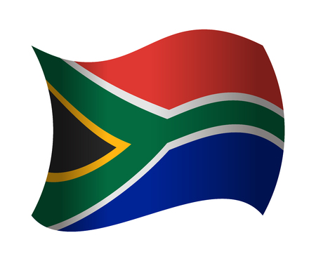 south africa flag waving in the wind