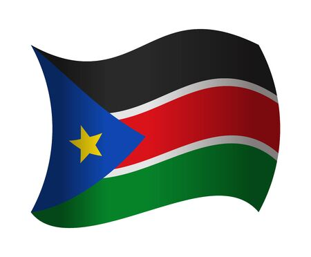 south sudan: south sudan flag waving in the wind Illustration