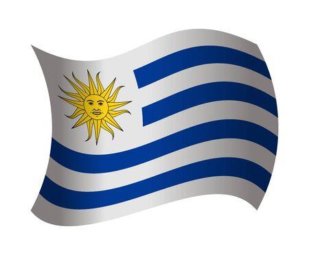 bandera de uruguay: Uruguay bandera ondeando en el viento Vectores