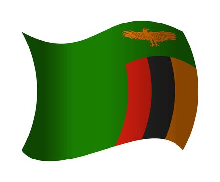 zambia flag waving in the wind