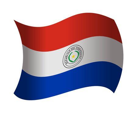bandera de paraguay: Paraguay bandera ondeando en el viento Vectores
