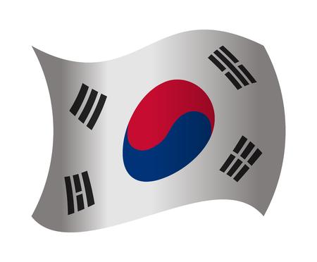 south korea: south korea flag waving in the wind