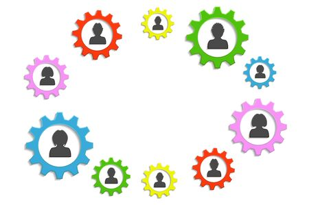 mechanism of progress: background circle gears and people Illustration