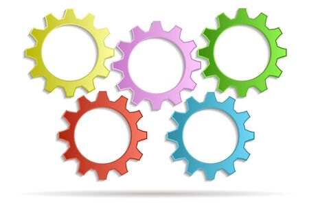 multicolored background: 5 gears multicolored background Illustration