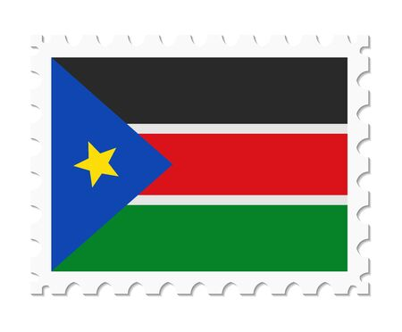 south sudan: stamp flag south sudan